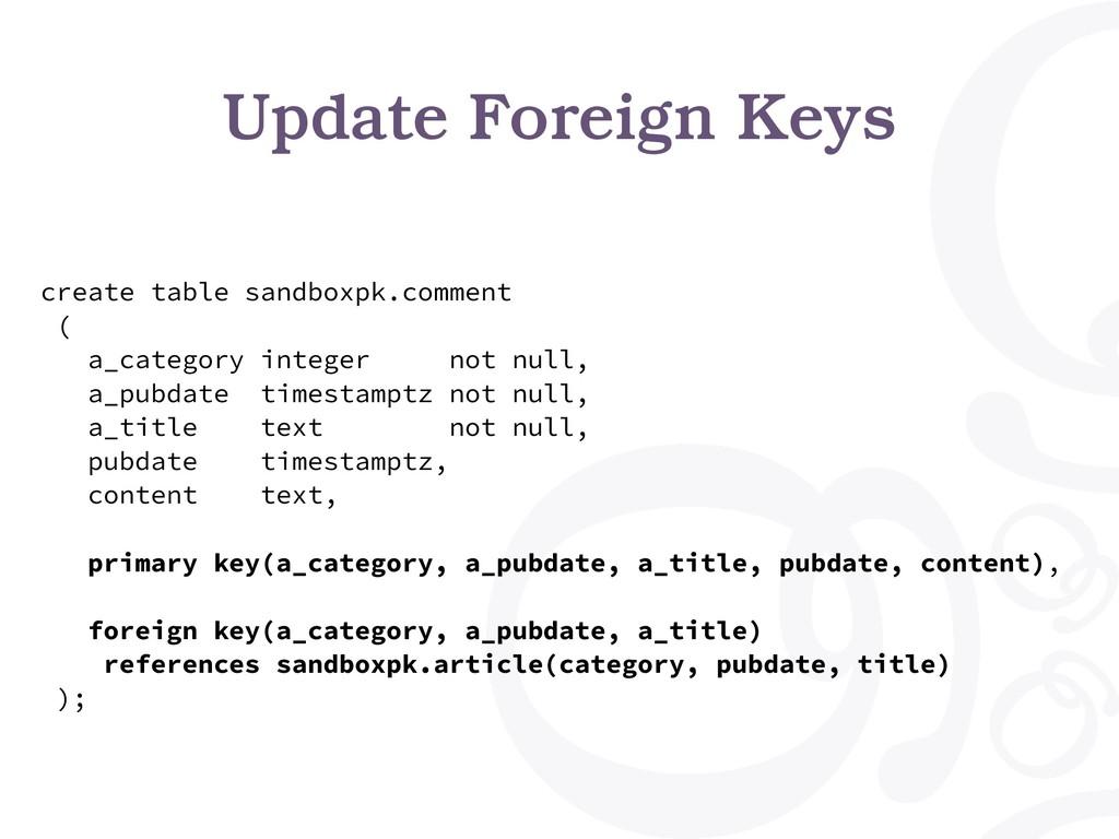 Update Foreign Keys create table sandboxpk.comm...