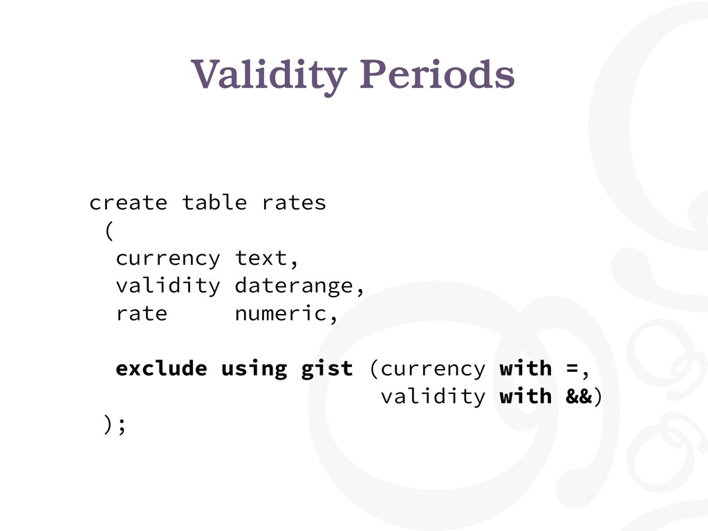 Validity Periods create table rates ( currency ...