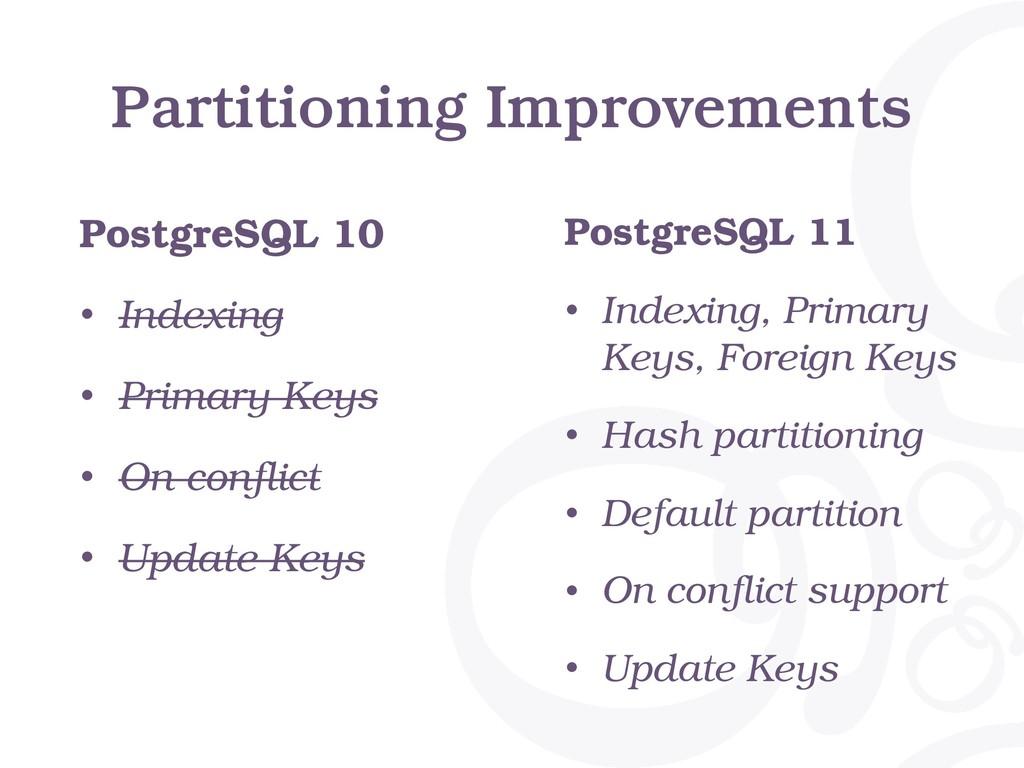 Partitioning Improvements PostgreSQL 10 • Index...