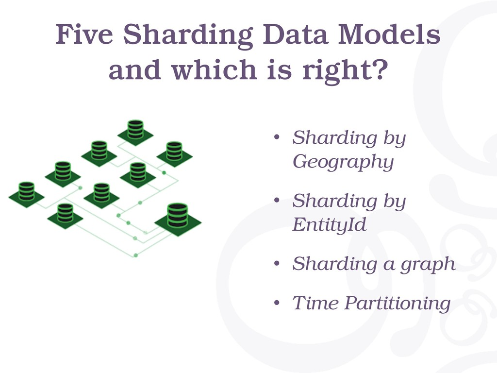 Five Sharding Data Models and which is right? •...
