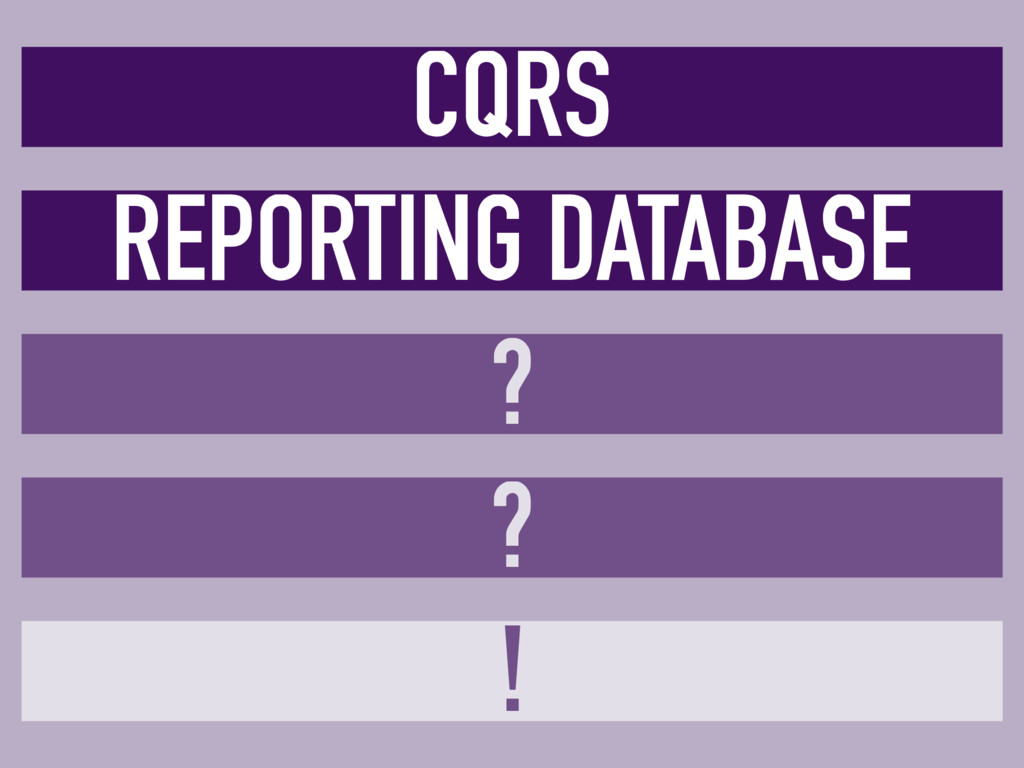 CQRS REPORTING DATABASE ? ? !