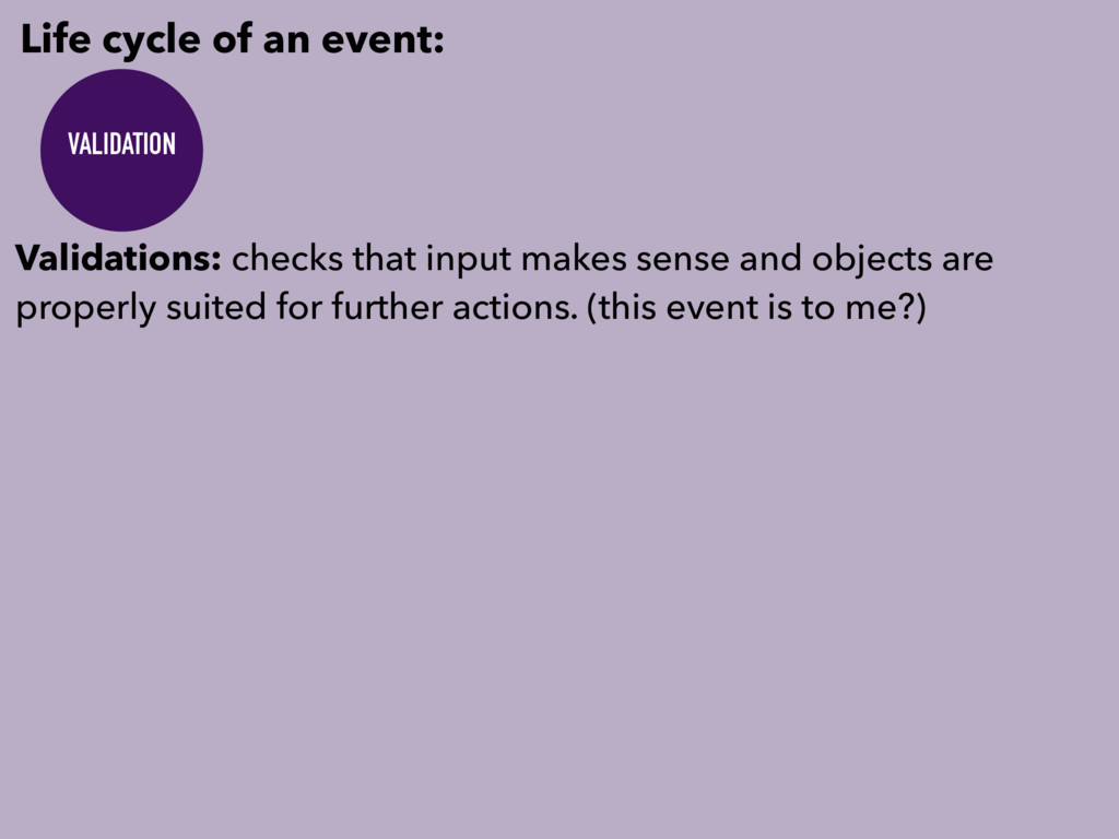 Life cycle of an event: VALIDATION Validations:...