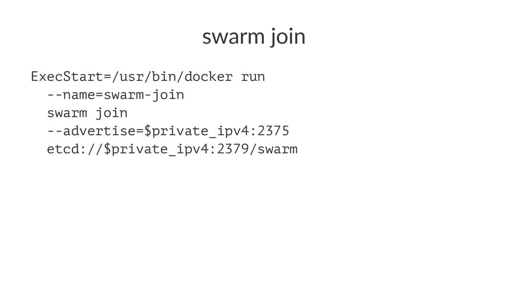 swarm&join ExecStart=/usr/bin/docker run --name...