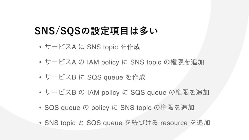 • αʔϏεA ʹ SNS topic Λ࡞ • αʔϏεA ͷ IAM policy ʹ ...