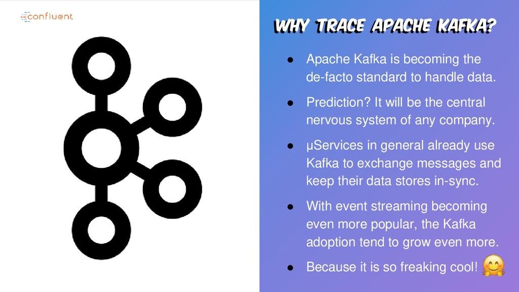 Why trace apache kafka? ● Apache Kafka is becom...