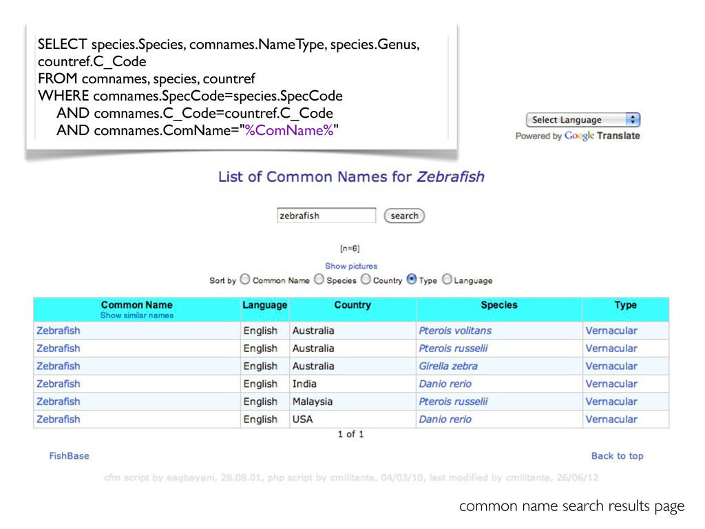common name search results page SELECT species....
