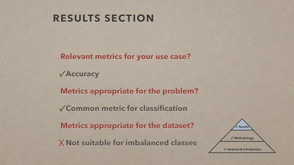 RESULTS SECTION Relevant metrics for your use c...
