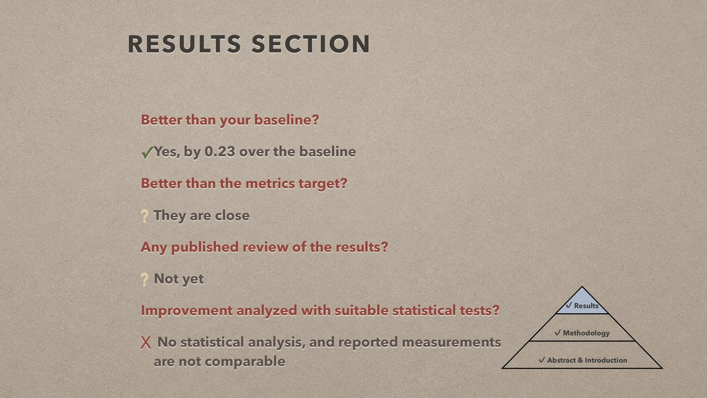 RESULTS SECTION Better than your baseline? ✓Yes...