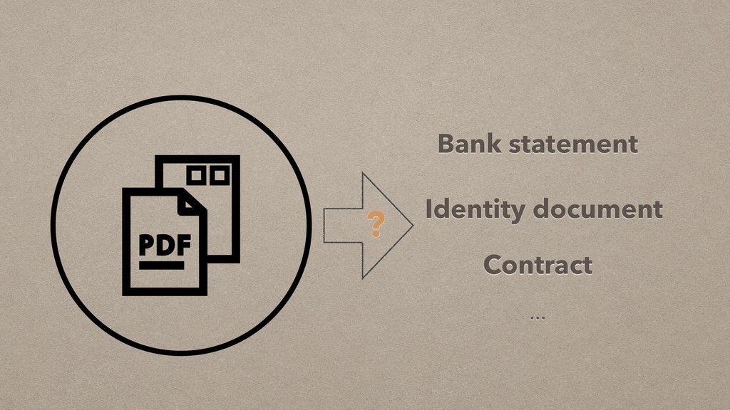 ? Bank statement Identity document Contract …