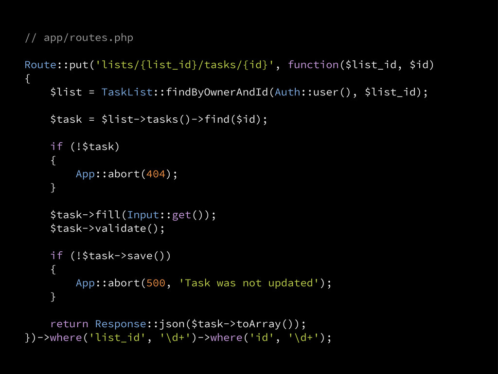 // app/routes.php Route::put('lists/{list_id}/t...