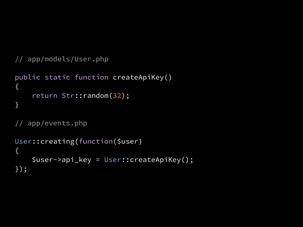 // app/models/User.php public static function c...