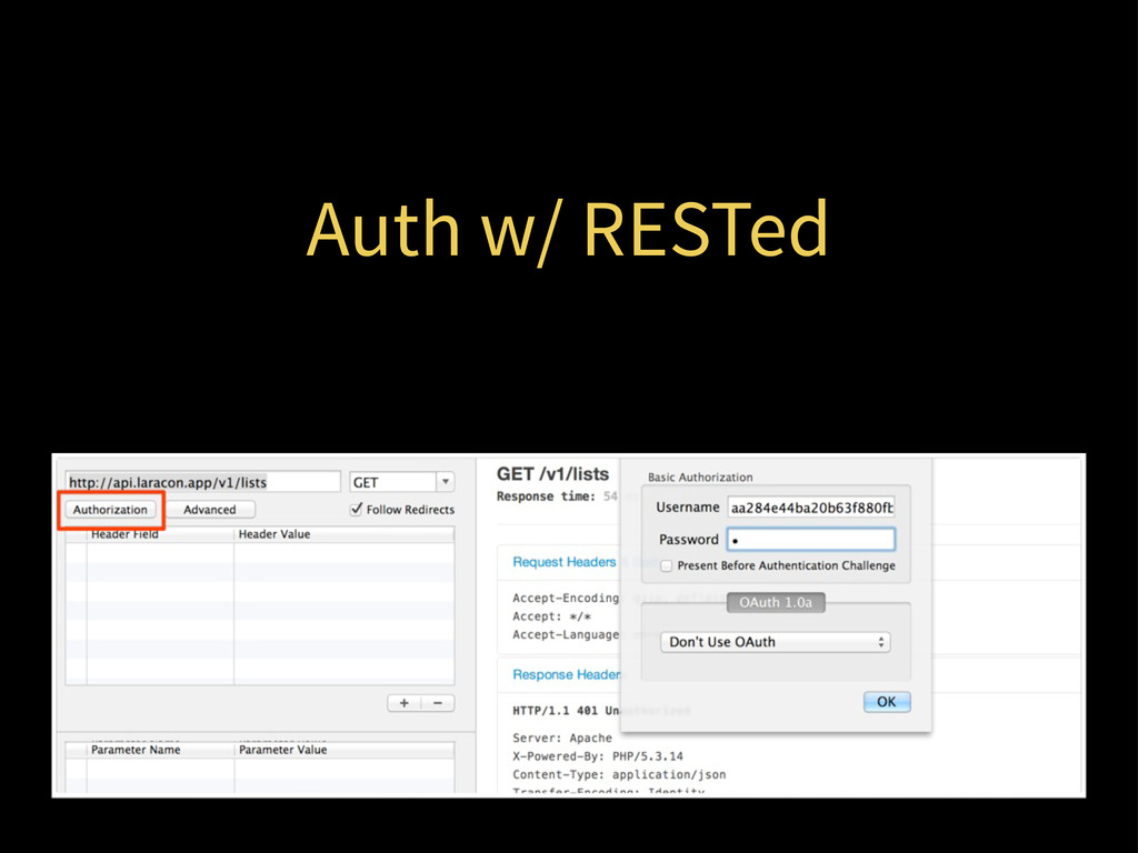 Auth w/ RESTed