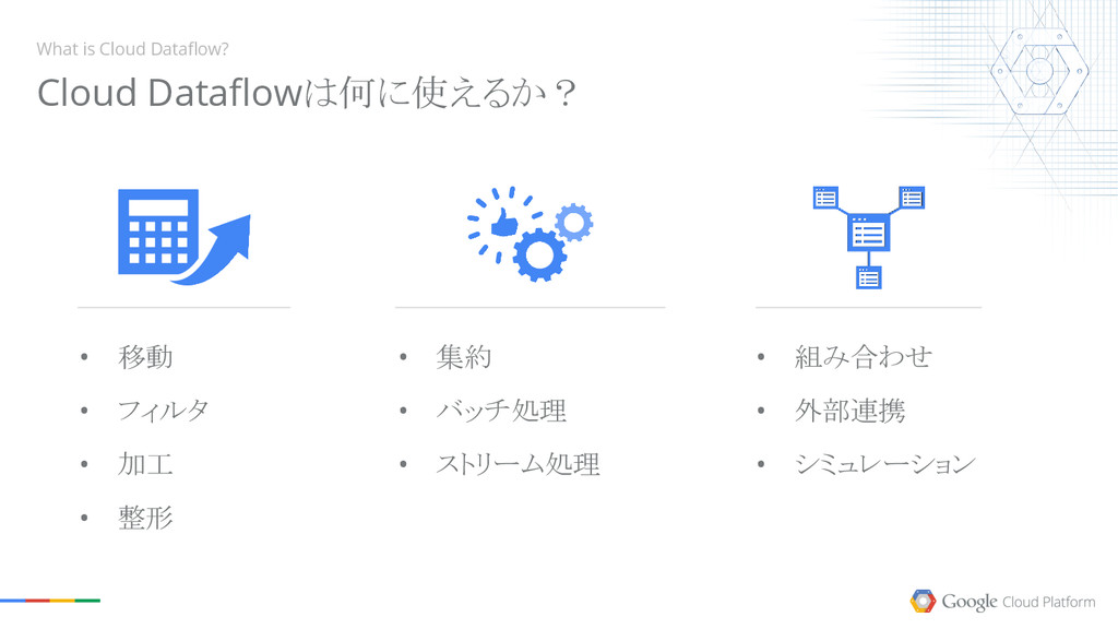 What is Cloud Dataflow? • 移動 • フィルタ • 加工 • 整形 •...