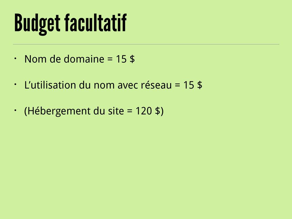 Budget facultatif • Nom de domaine = 15 $ • L'u...