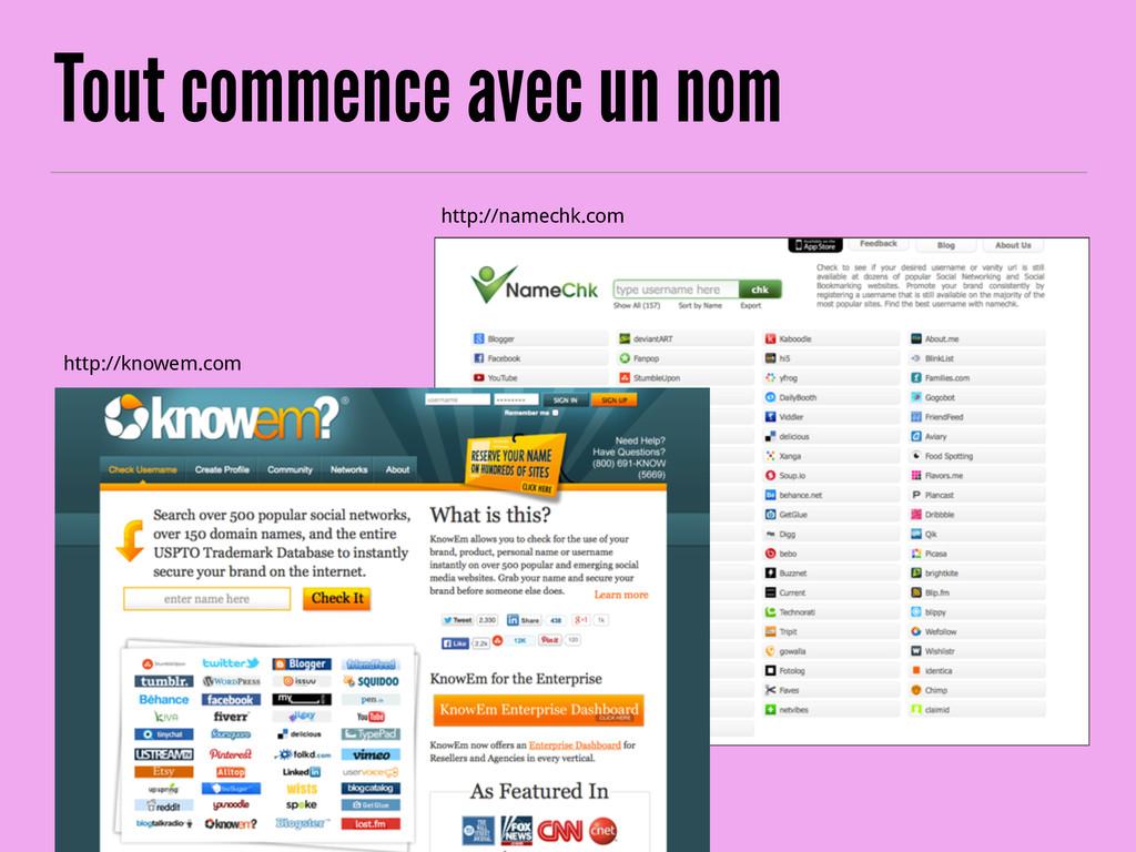 Tout commence avec un nom http://knowem.com htt...