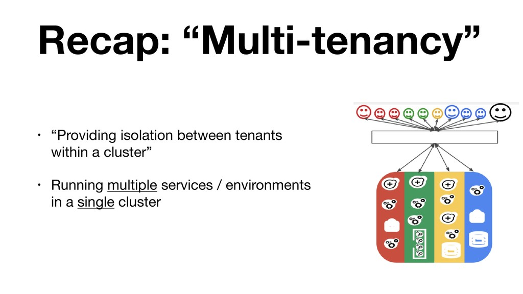 "Recap: ""Multi-tenancy"" • ""Providing isolation b..."