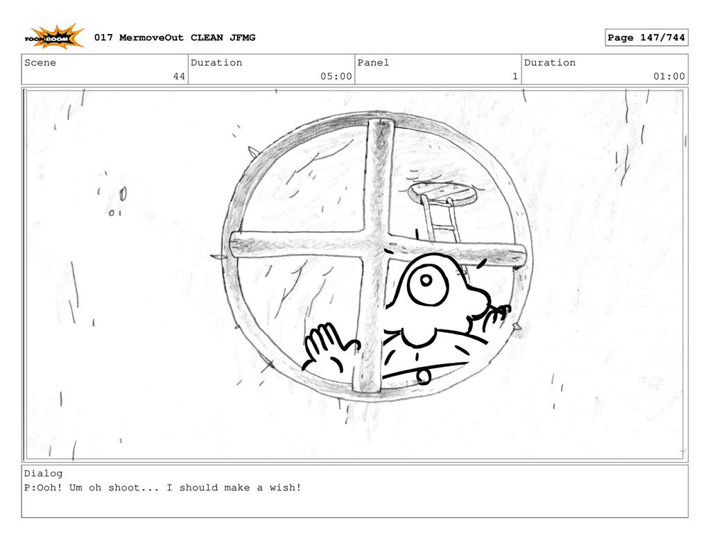 Scene 44 Duration 05:00 Panel 1 Duration 01:00 ...
