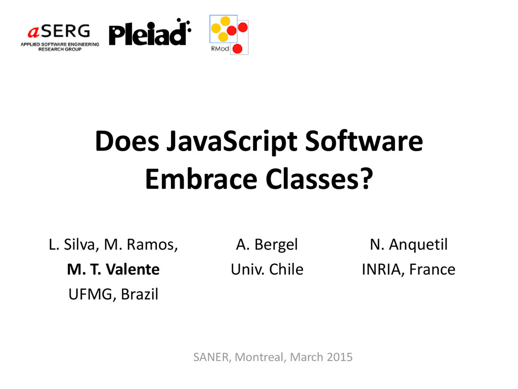 Does JavaScript Software Embrace Classes? L. Si...