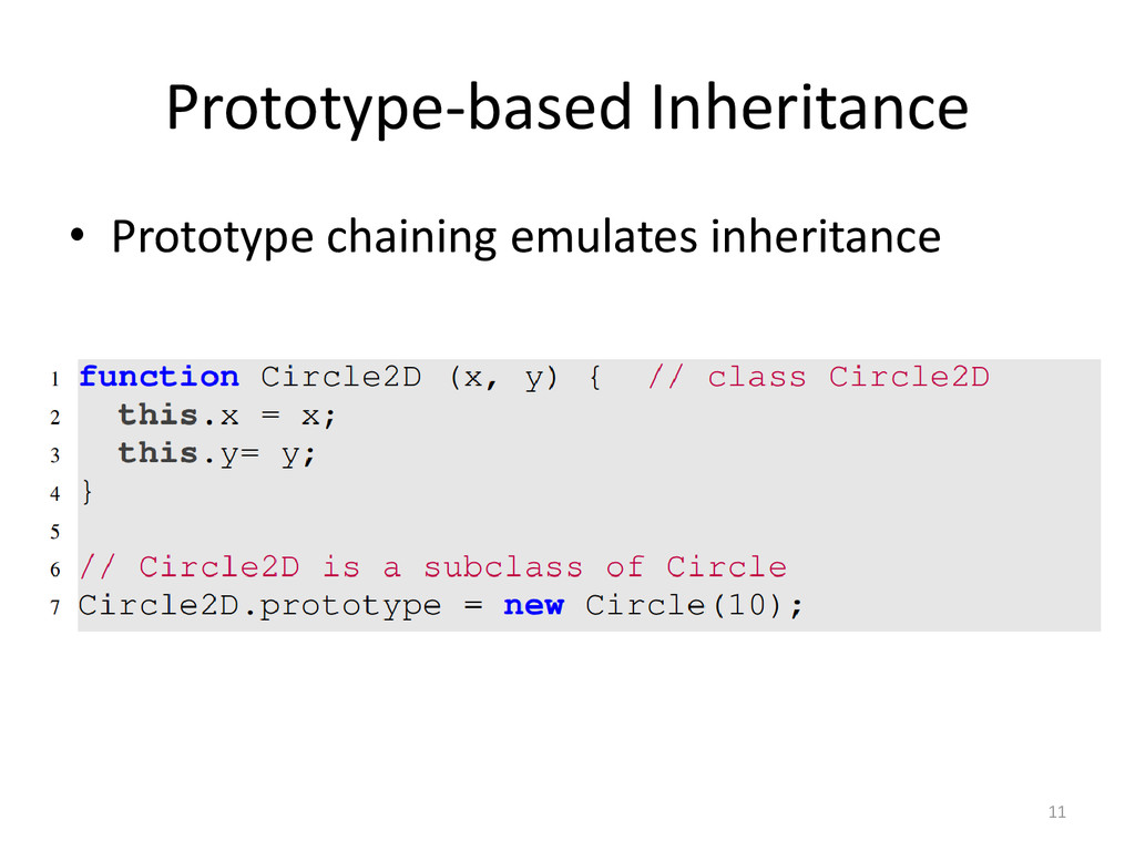 Prototype-based Inheritance 11 • Prototype chai...