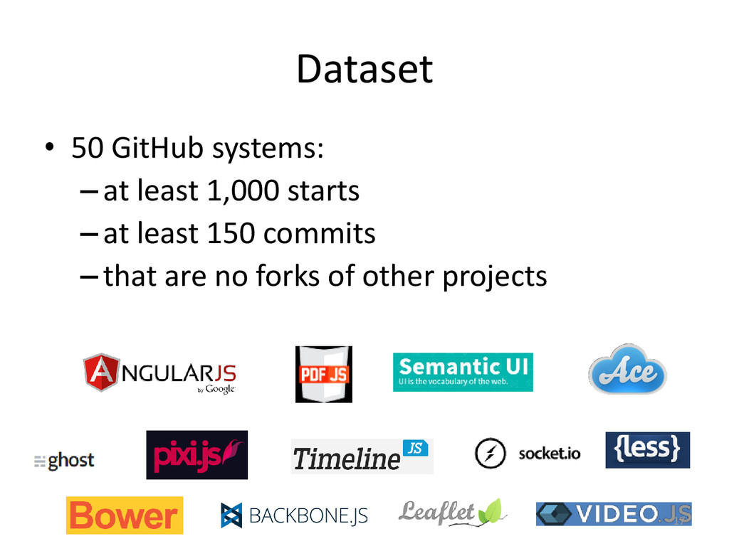Dataset • 50 GitHub systems: –at least 1,000 st...