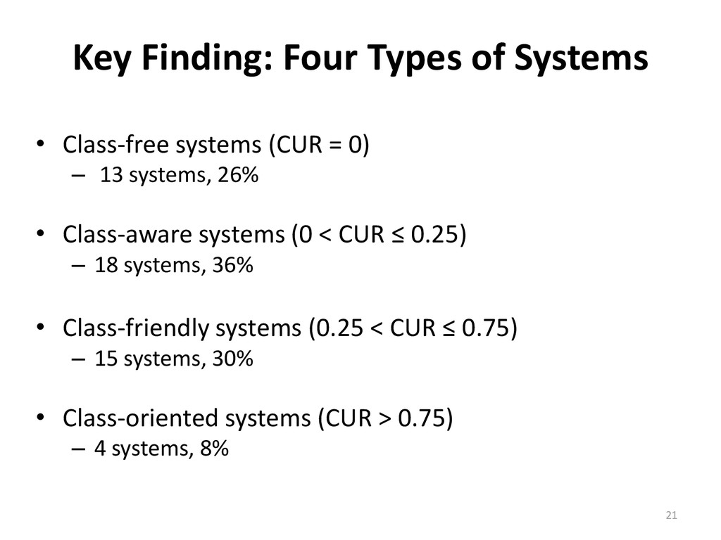 Key Finding: Four Types of Systems • Class-free...