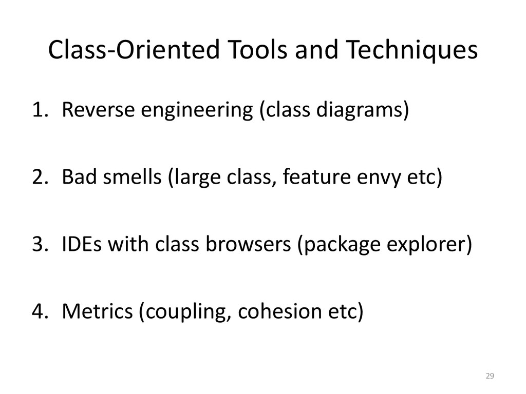 Class-Oriented Tools and Techniques 1. Reverse ...