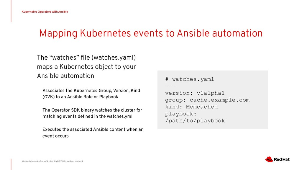 Mapping Kubernetes events to Ansible automation...