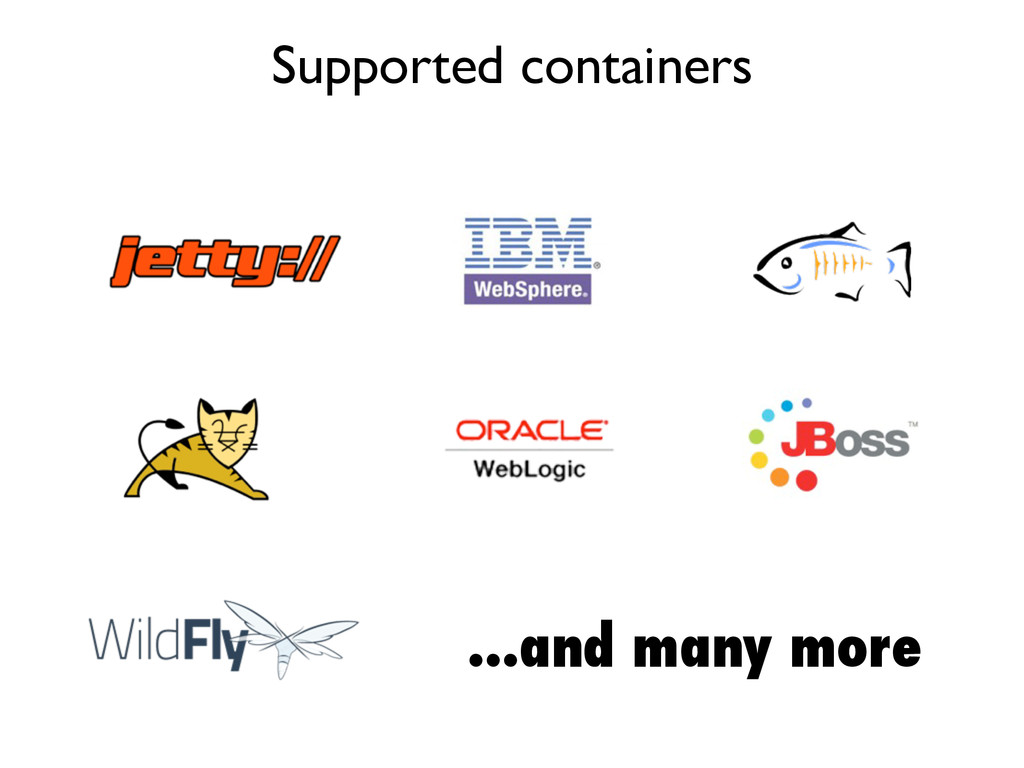 Supported containers ...and many more