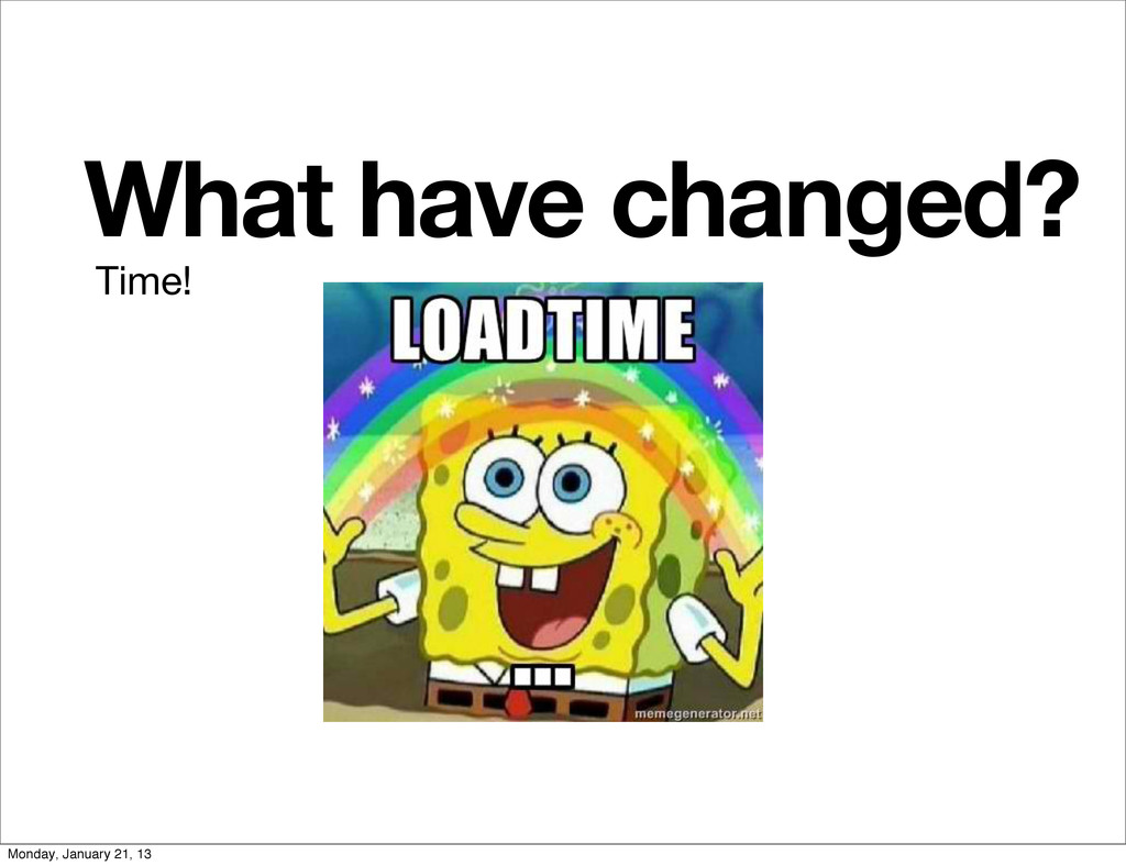 What have changed? Time! Monday, January 21, 13