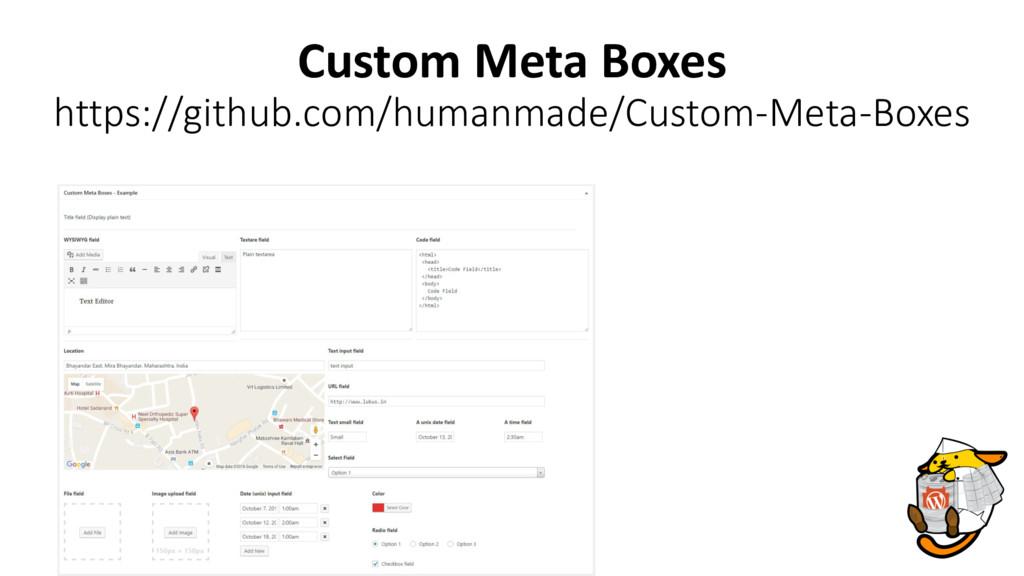 Custom Meta Boxes https://github.com/humanmade/...