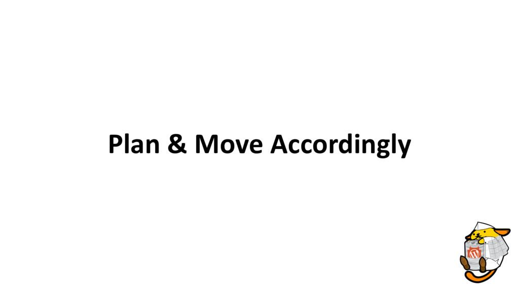 Plan & Move Accordingly