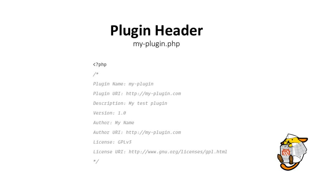 Plugin Header my-plugin.php