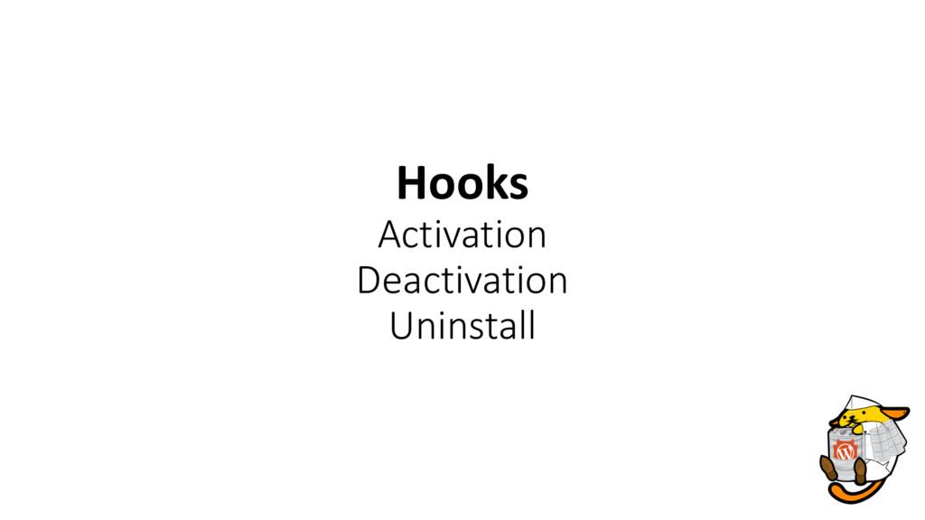Hooks Activation Deactivation Uninstall