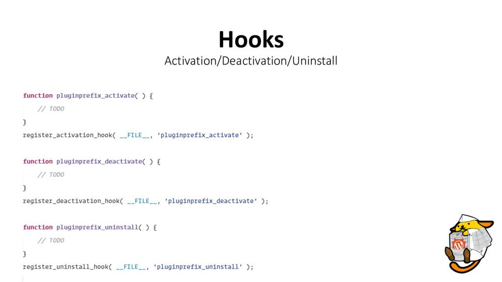 Hooks Activation/Deactivation/Uninstall