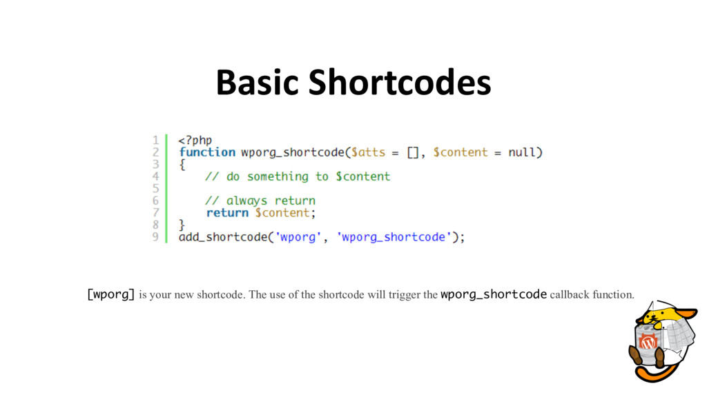 Basic Shortcodes [wporg] is your new shortcode....