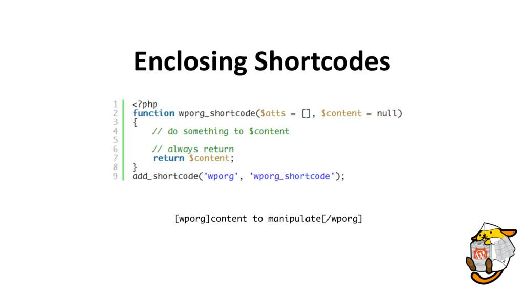 Enclosing Shortcodes [wporg]content to manipula...