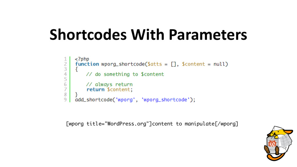 """Shortcodes With Parameters [wporg title=""""WordPr..."""