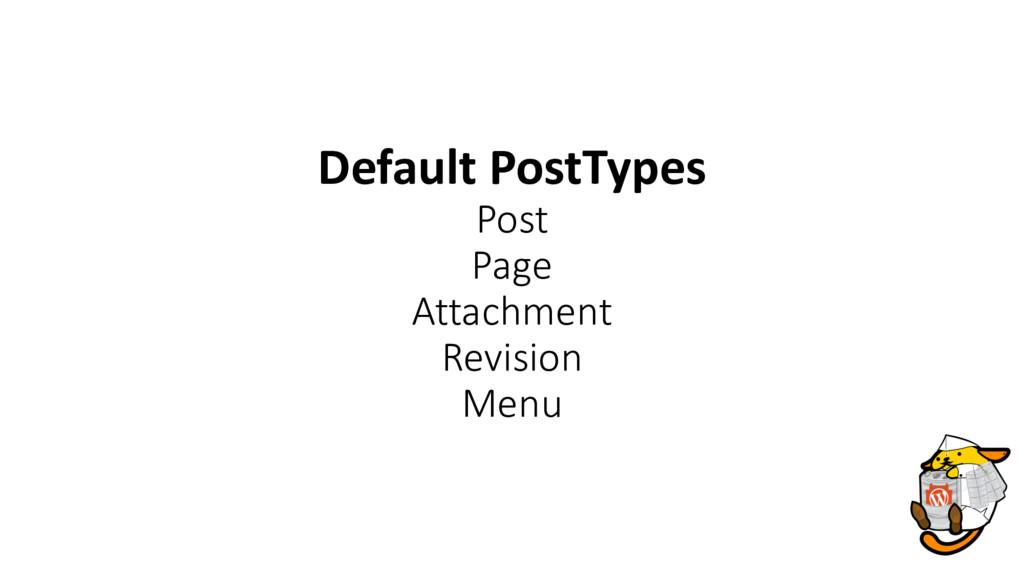 Default PostTypes Post Page Attachment Revision...