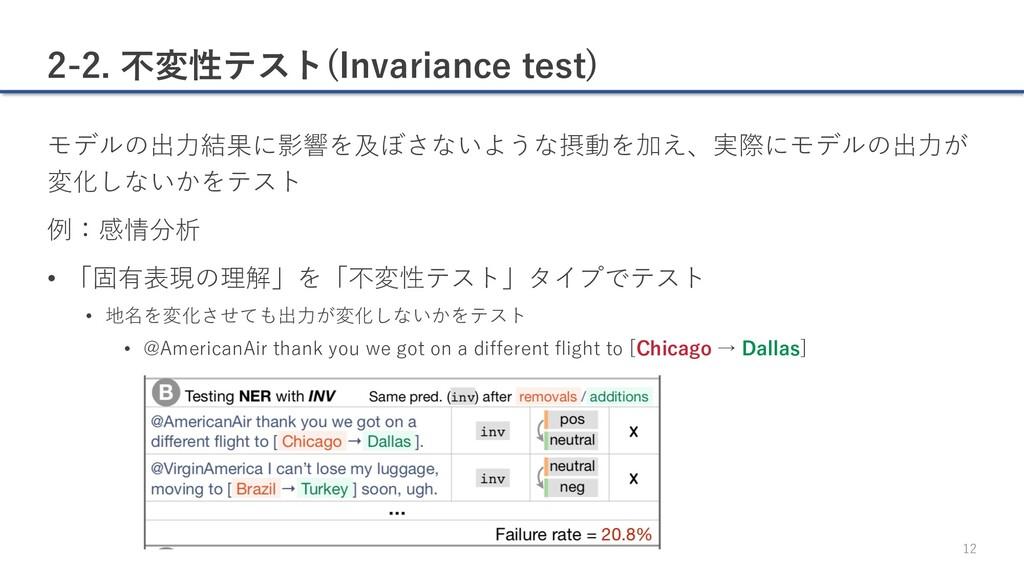 2-2. 不変性テスト(Invariance test) モデルの出⼒結果に影響を及ぼさないよ...