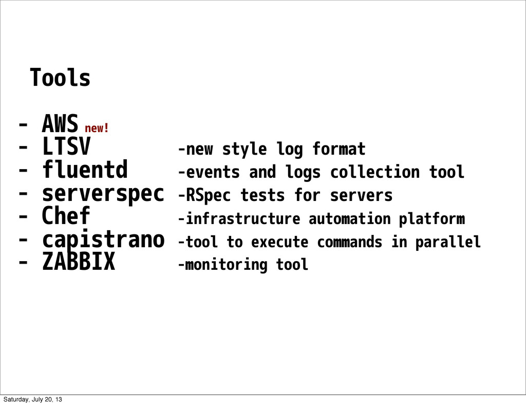 Tools - AWS new! - LTSV -new style log format -...