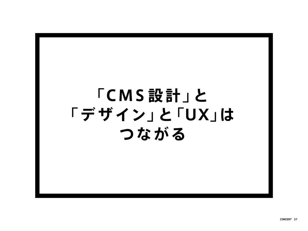 「CMS 設 計」 と 「デ ザ イン」 と 「UX」 は つなが る 37