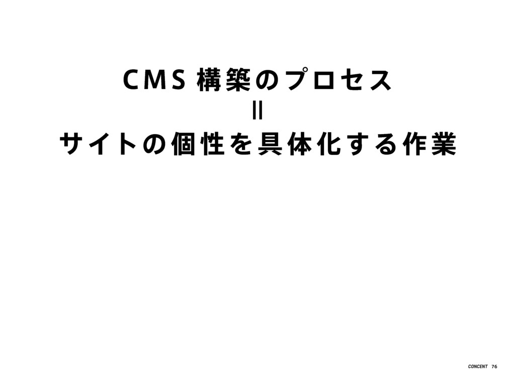 CMS 構 築 のプロセス サイトの 個 性 を具 体 化する作 業 = 76