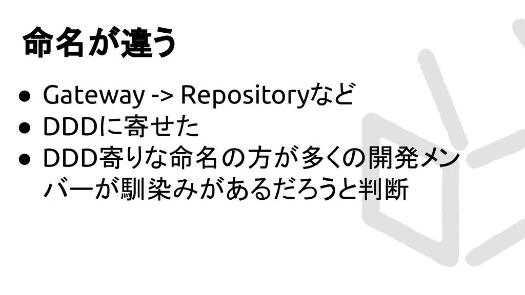 命名が違う ● Gateway -> Repositoryなど ● DDDに寄せた ● DDD...