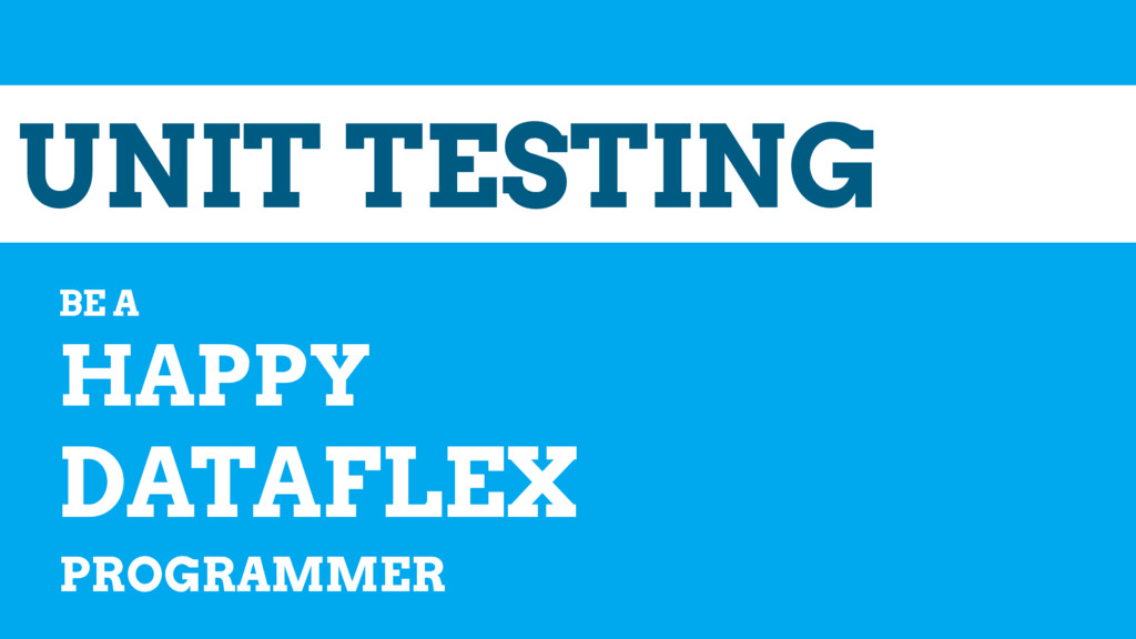 UNIT TESTING BE A HAPPY DATAFLEX PROGRAMMER