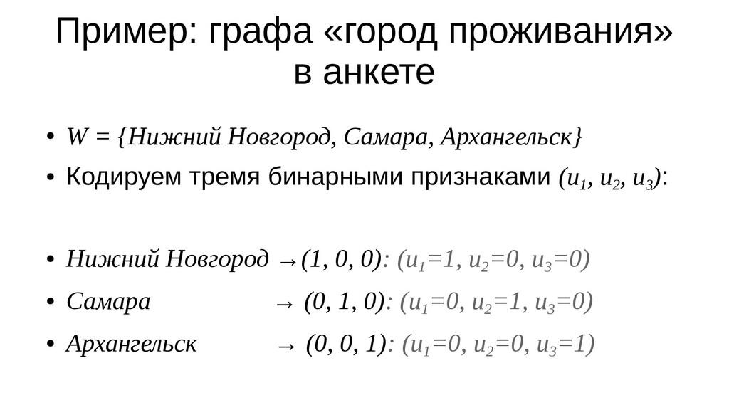 Пример: графа «город проживания» в анкете ● W =...