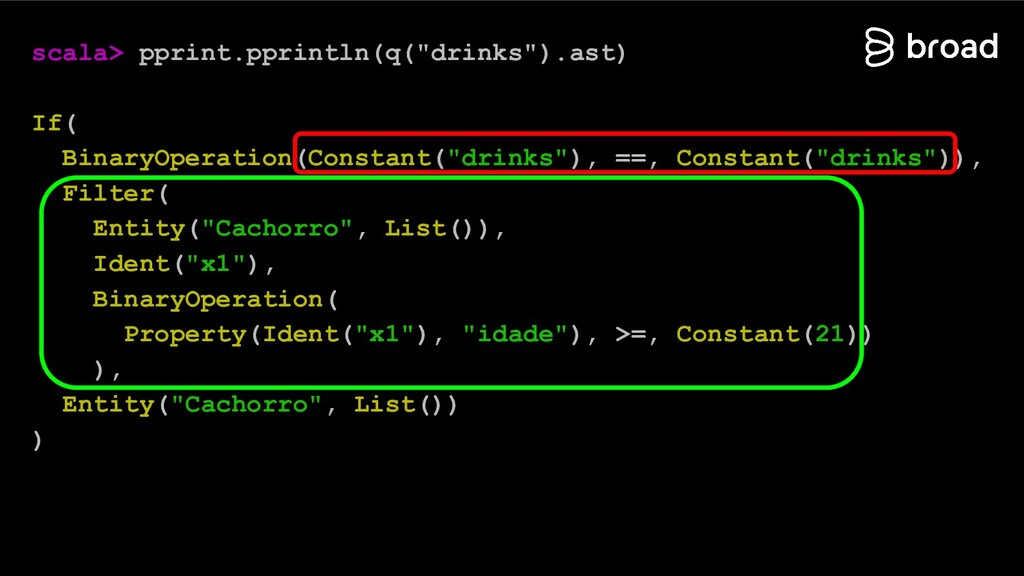 "scala> pprint.pprintln(q(""drinks"").ast) If( Bin..."