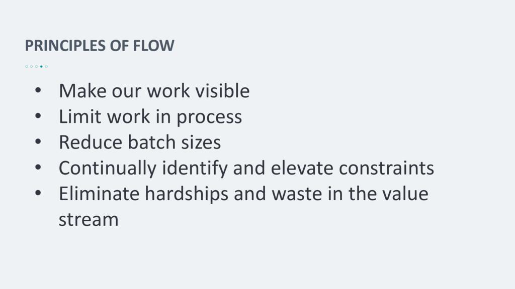 PRINCIPLES OF FLOW • Make our work visible • Li...