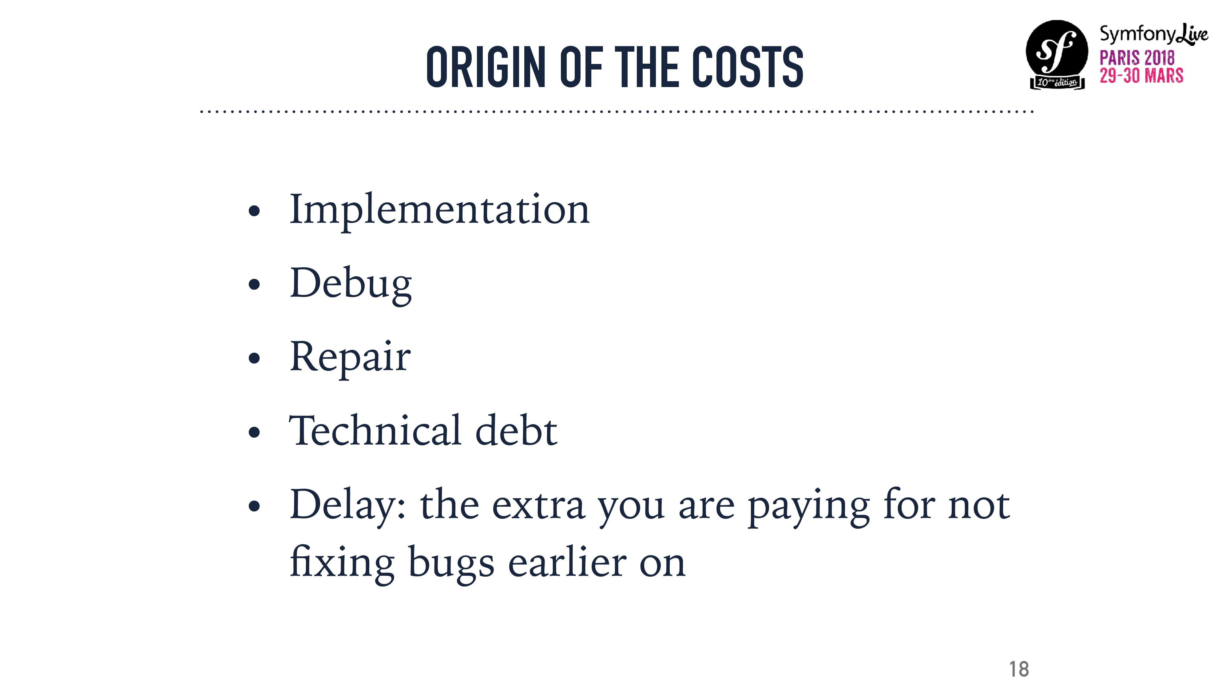 ORIGIN OF THE COSTS • Implementation • Debug • ...