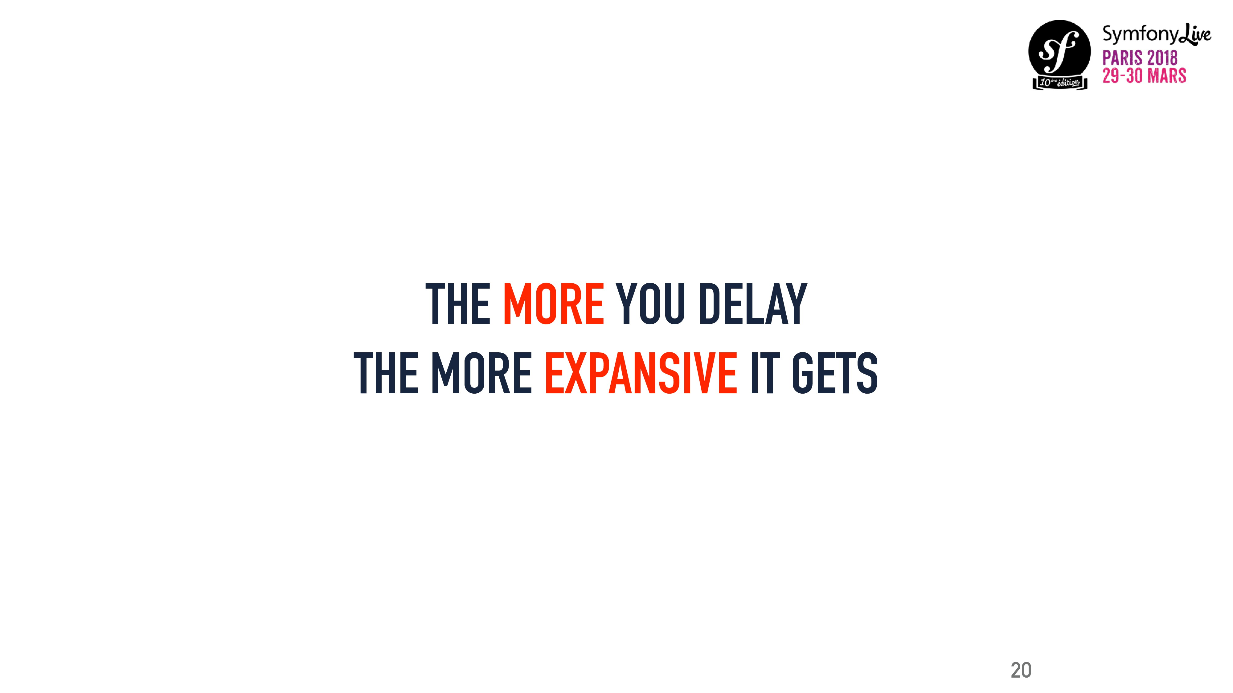 THE MORE YOU DELAY THE MORE EXPANSIVE IT GETS 20
