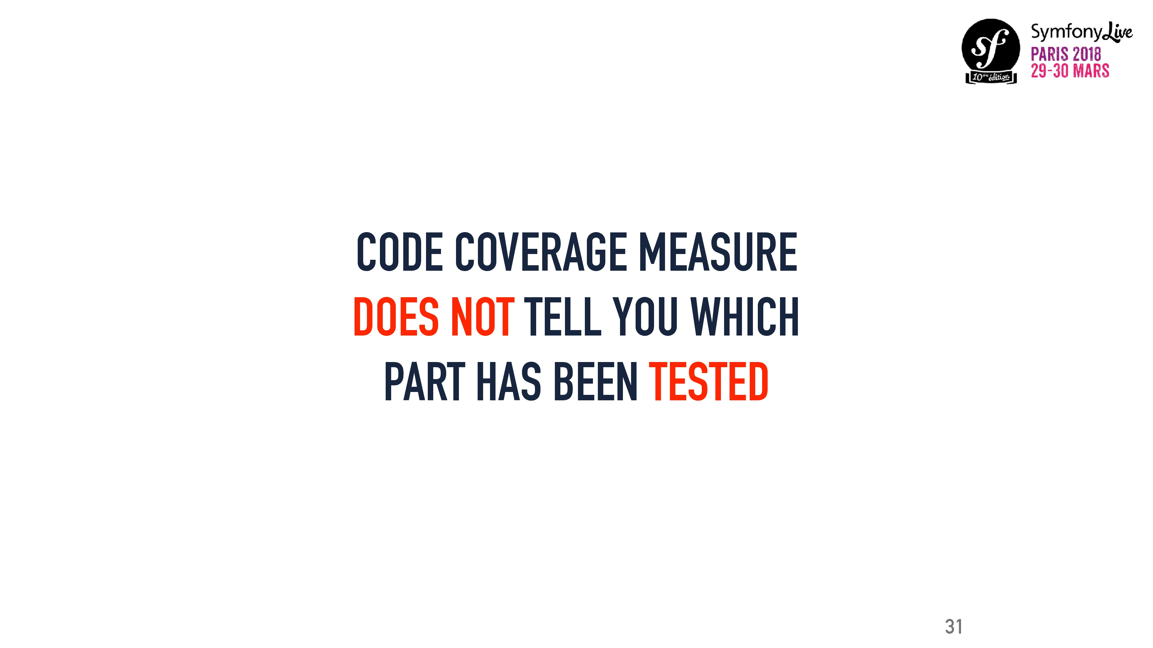 CODE COVERAGE MEASURE DOES NOT TELL YOU WHICH P...